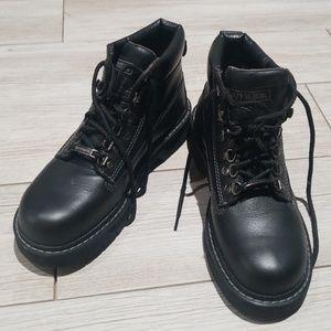 Womens black HARLEY DAVIDSON steel toe boots sz. 8